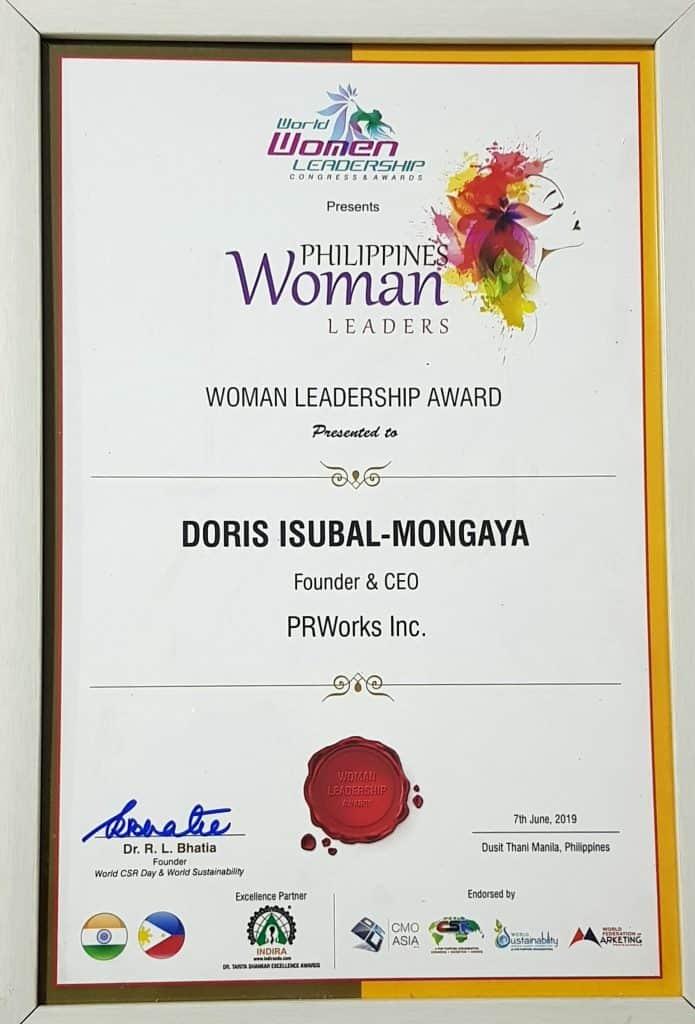 Doris Isubal-Mongaya Woman Leadership Award