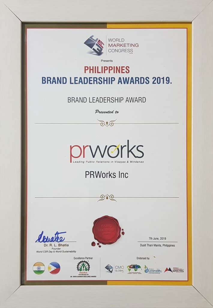 PRworks brand leadership award