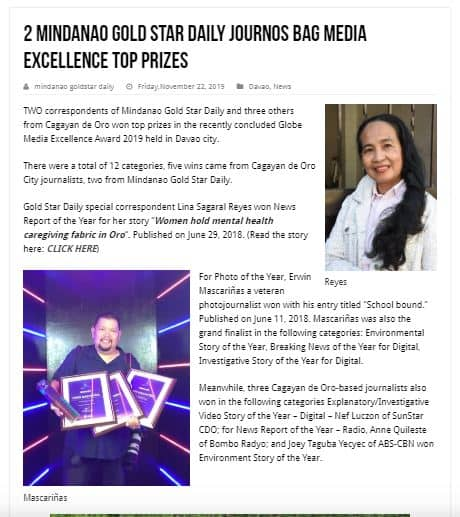 Media Award Winners - Lina Reyes, Erwin Mascarinas