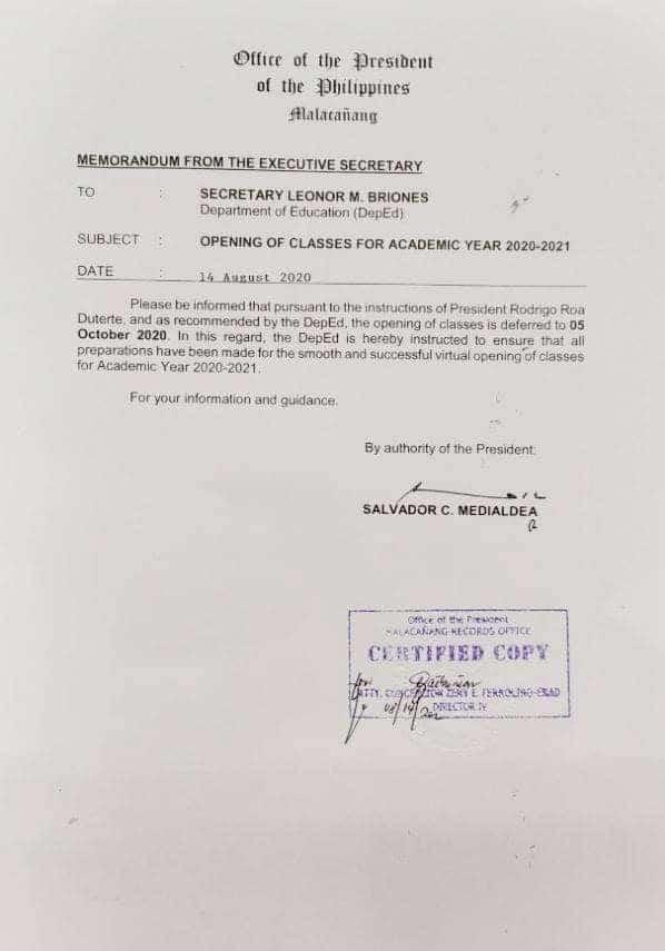 Duterte order reset start of classes