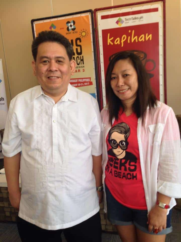 Rik Amores with Doris Mongaya in Geeks on a Beach event.
